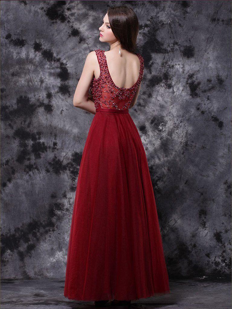 Chic burgundy prom dresses long v neck modest long prom dress with