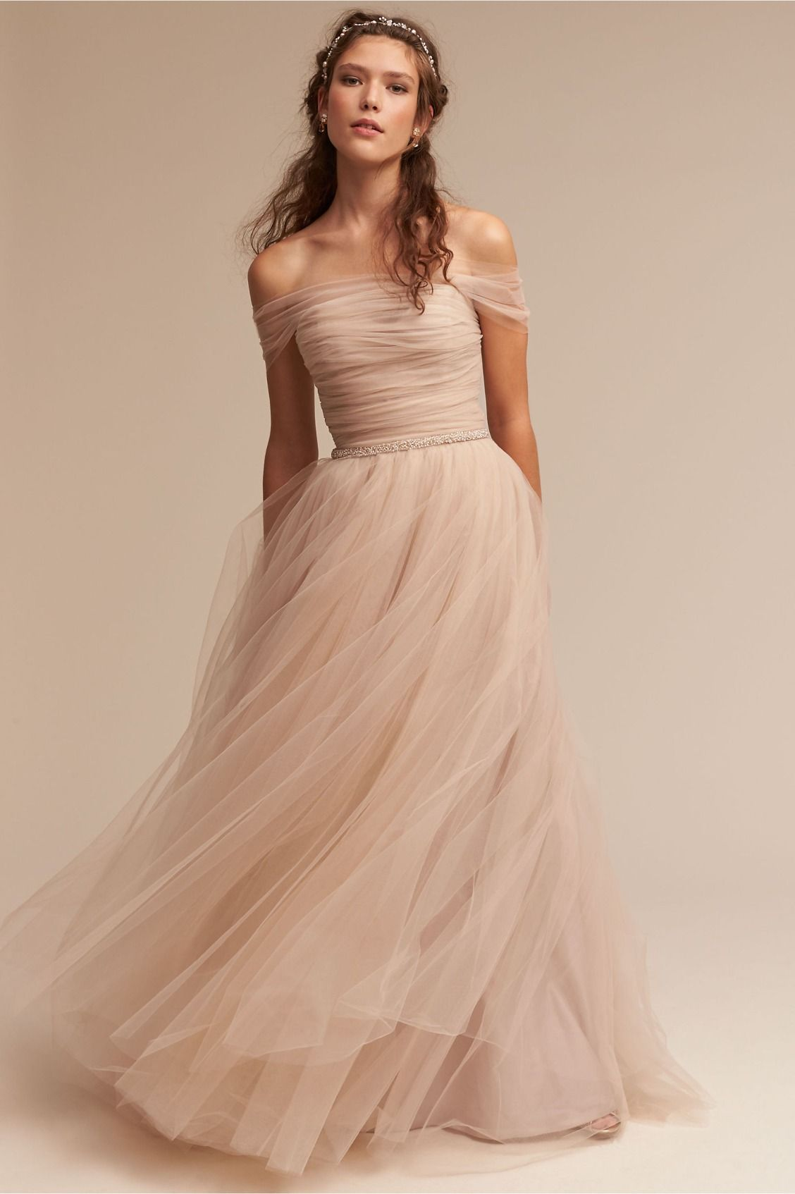 A romantics dream ramona gown from bhldn in motion modern blush wedding dresses 2017 bhldn vestido de noiva with illusion off shoulder and beaded sash pleated tulle romantic bridal gowns wedding dresses ombrellifo Gallery