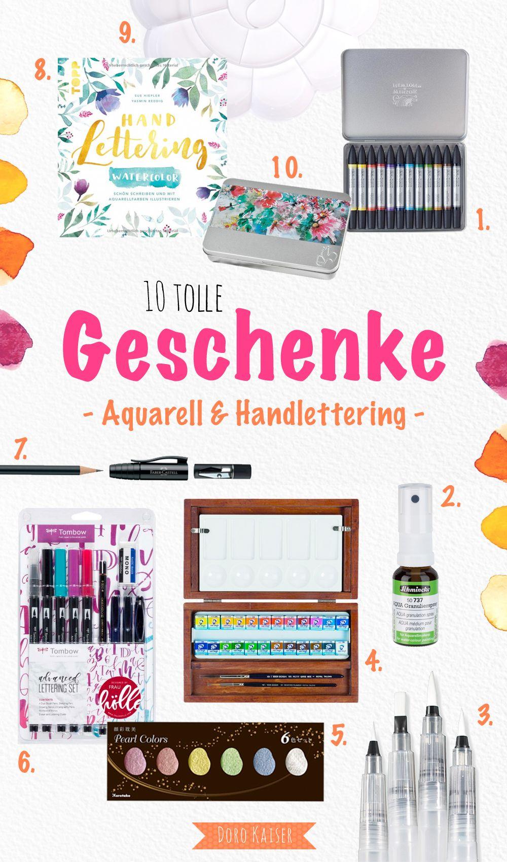 10 tolle Geschenkideen - Geschenke für alle, die Aquarell und Handlettering lieben | www.dorokaiser.online.de
