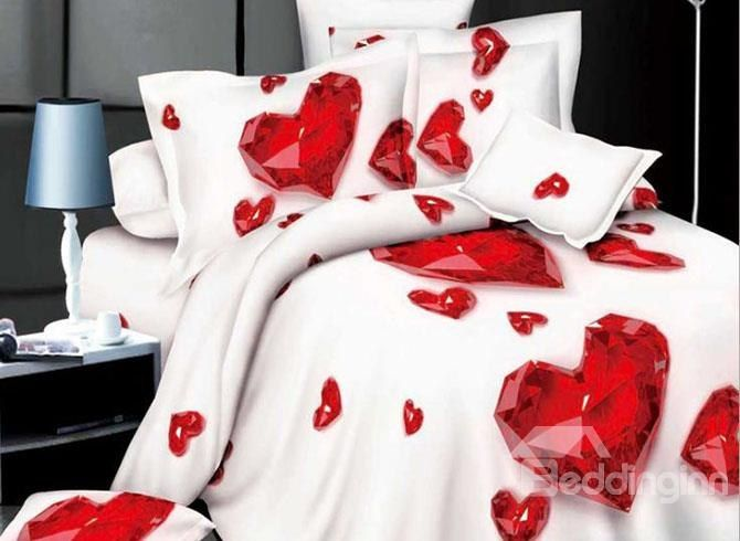 Wonderful Red Heart Shaped 4 Piece Polyester 3d Duvet Cover Queen Size Bed Sets Bed Linen Sets Duvet Bedding Sets