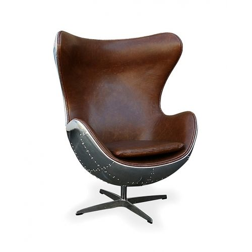 Charming Replica Arne Jacobson Aviator Egg Chair   Brown Antique, Leather, Aluminium  $1299