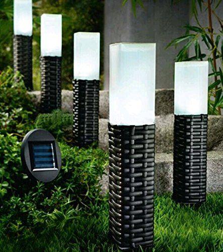 Nice Sogrand Pack Of 5 Solar Light Hand Woven Rattan Bollard Pathway Decoration  Stake Light, Solar Gardenu2026