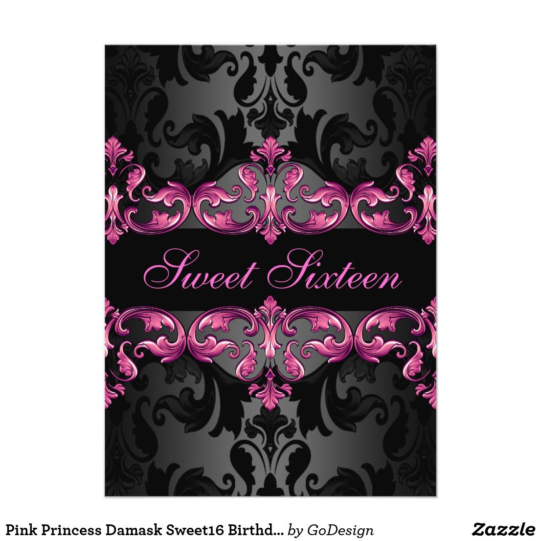 Pink Princess Damask Sweet 16 Birthday Invite This Elegant Customizable Sixteen Invitation Features Pattern On A Black