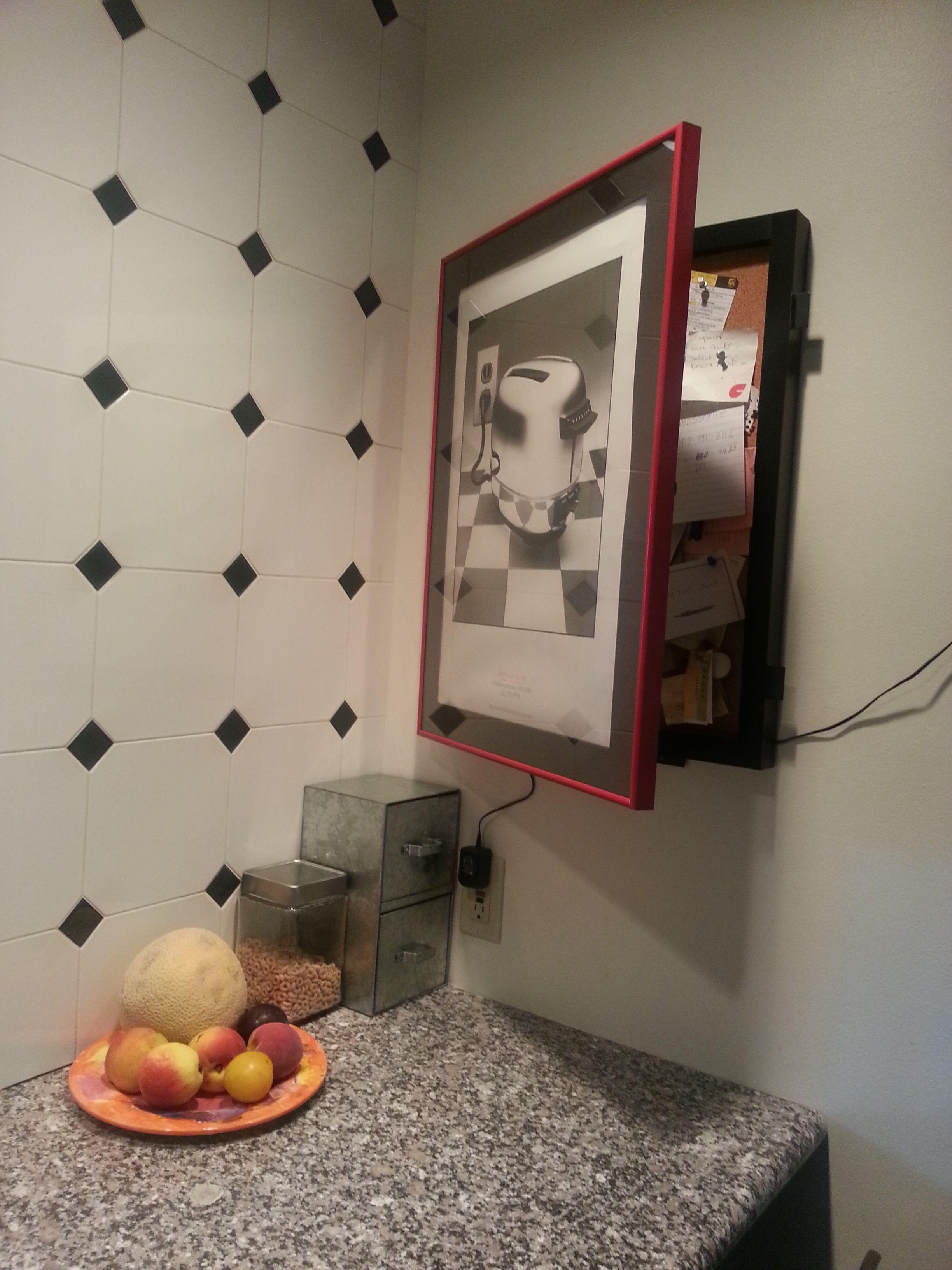 hidden bulletin board behind framed print perfect for the kitchen by cork. Black Bedroom Furniture Sets. Home Design Ideas