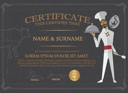 Chef Certificate Template  Art    Certificate And