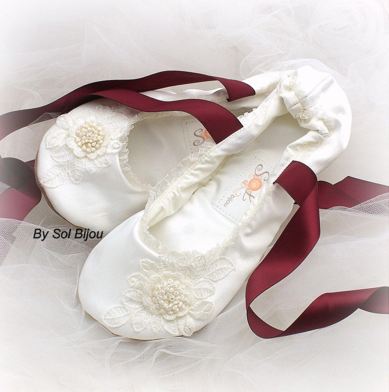 Ivory Ballet Flats Burgundy Wine Shoes Wedding Lace Up