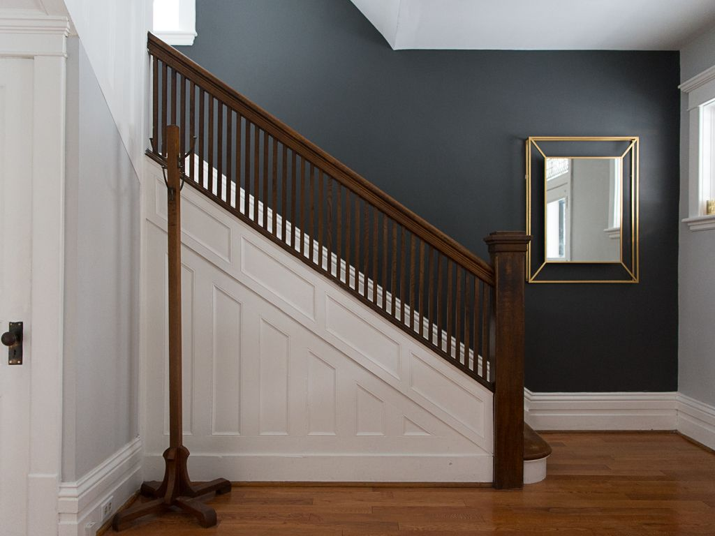 Accent Wall And Original Staircase Stairwell Wall Accent Wall Colors Stairway Walls
