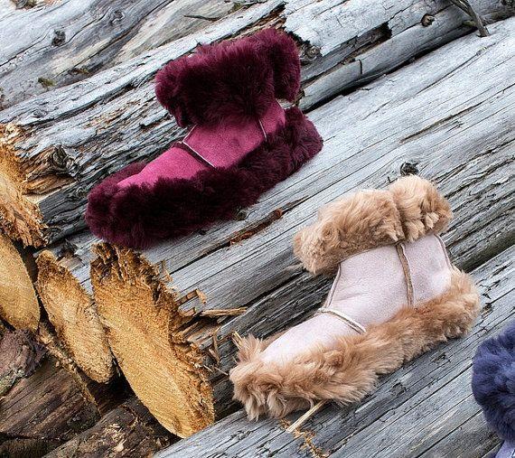 Karhu Womens Sheepskin Moccasins Booties Slippers by ShamrockArts