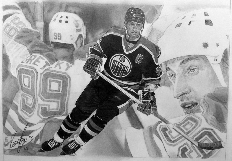 Wayne Gretzky Pencil Drawing Sports Art By Robb Scott Sports Art Sports Drawings Drawings