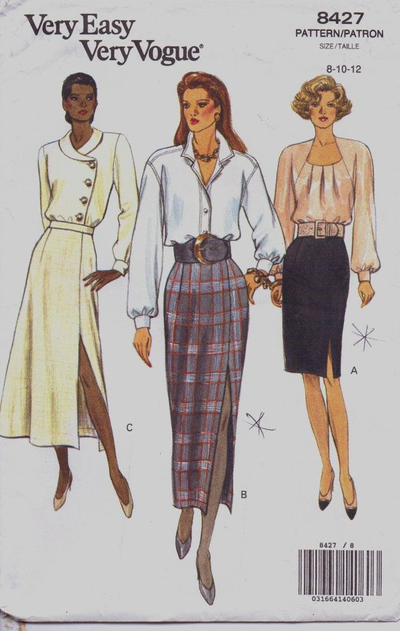 90s Very Easy Very Vogue Sewing Pattern 8427 Womens Pencil or Flared ...