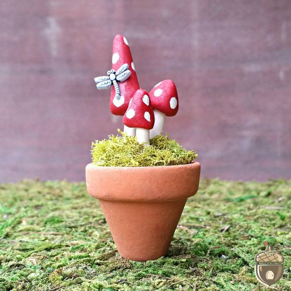 Large Fairy Garden Mushrooms In Flower Pot   Miniature Fairy Garden  Accessory, Terra Cotta Pot