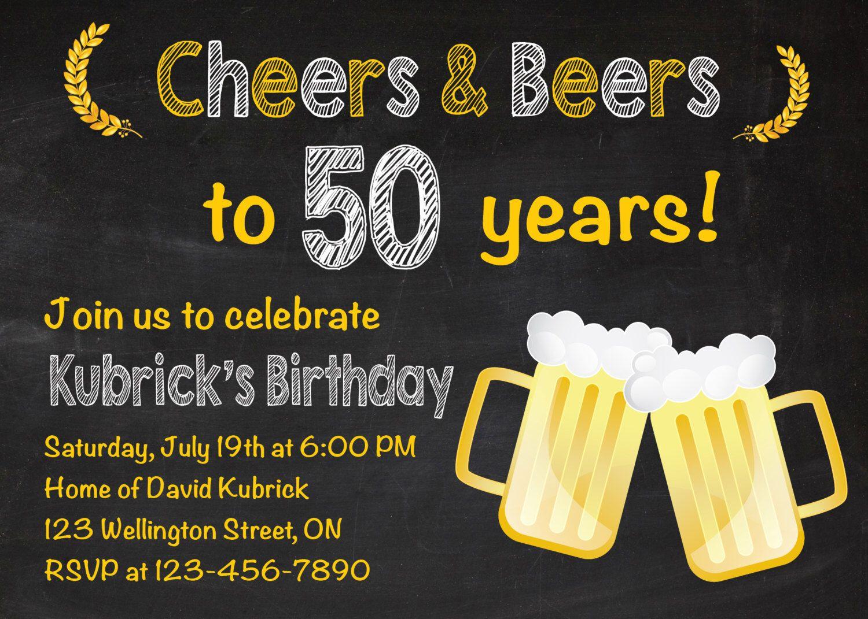 50th birthday invitation. Beer party invitations. Chalkboard. 30th ...