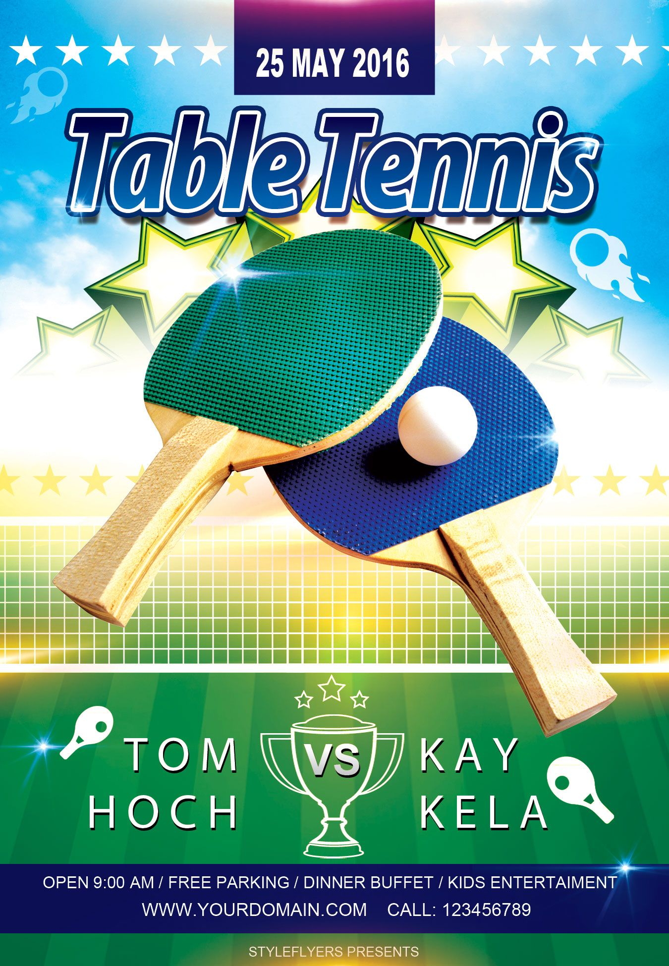 free sport party psd flyer template by styleflyers com  this free table tennis psd flyer