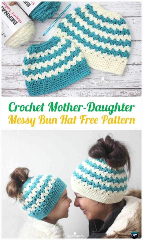 Crochet Mother-Daughter Cluster V-Stitch Messy Bun Hat Free Pattern ...