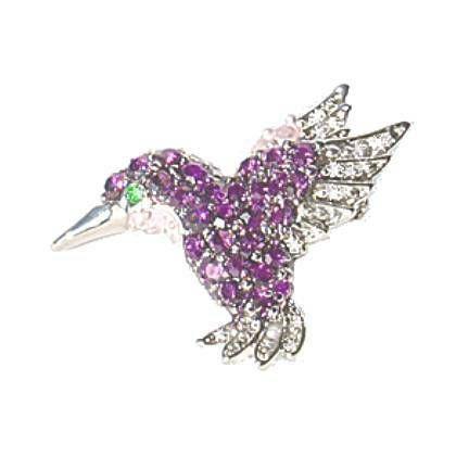 Hummingbird Pin Brooch Swarovski Crystals Purple Jewelry Teal White Blue  Colibri