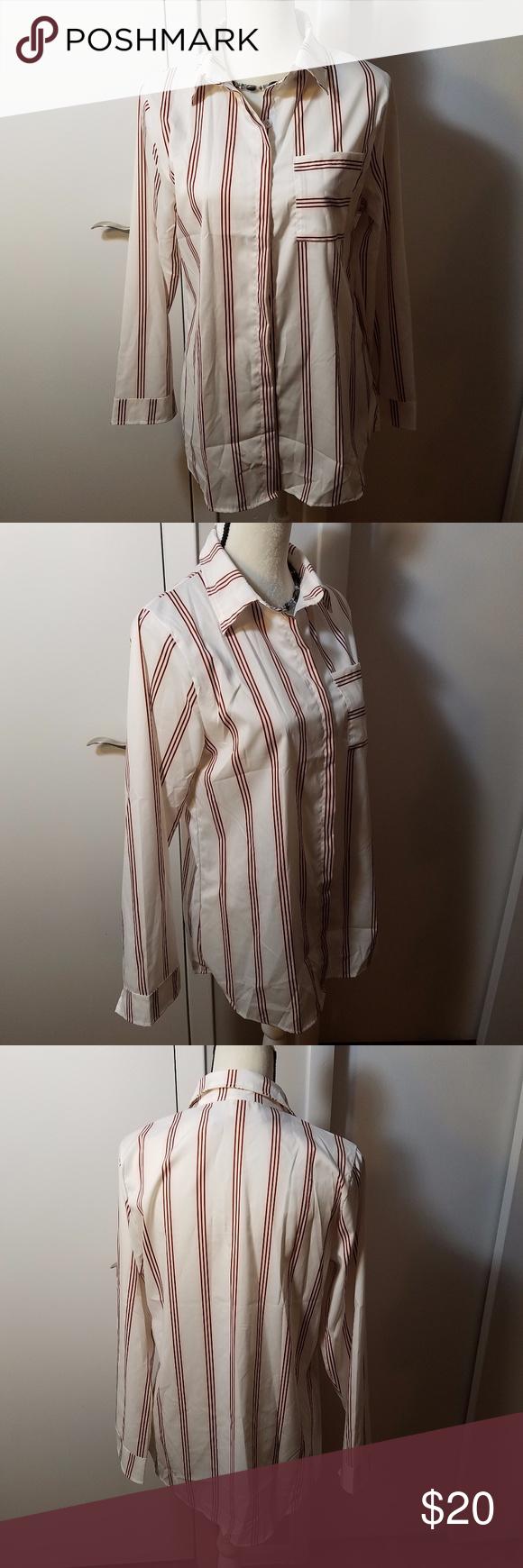 Liu Si Ran Striped White Red Ladies Dress Shirt Ladies Dresses