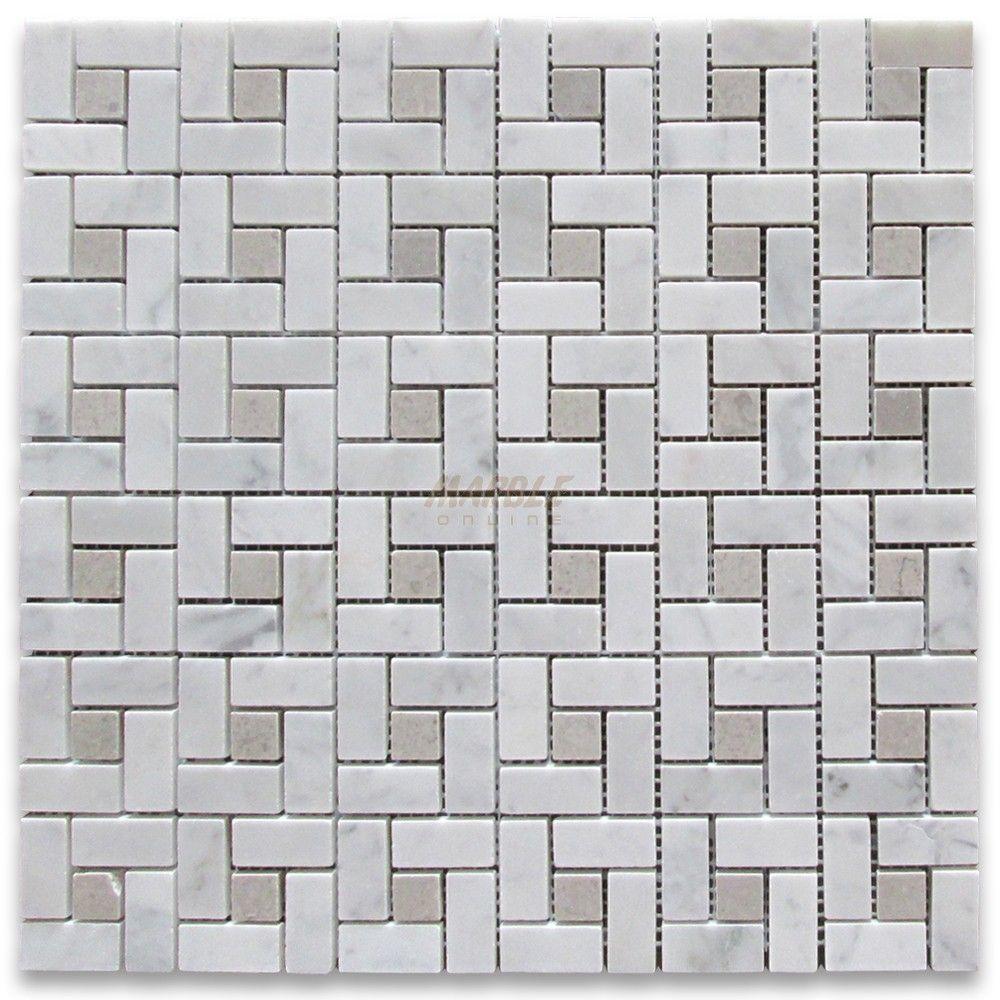 Carrara White Target Pinwheel Mosaic Tile w/ Gray Dots Polished