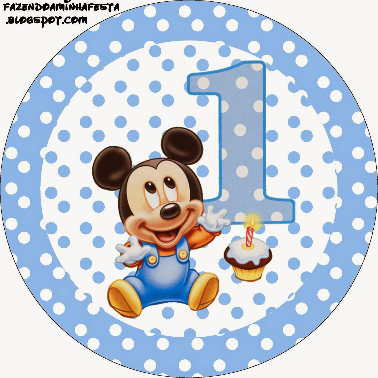Mickey Primer Año Con Lunares Etiquetas Para Candy Bar Para