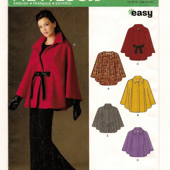 A Contemporary Cape / Poncho with Collar and Closure Variations ...