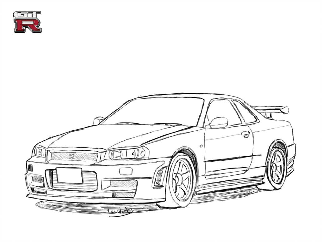 Nissan Skyline R34 Drawing By Revolut3