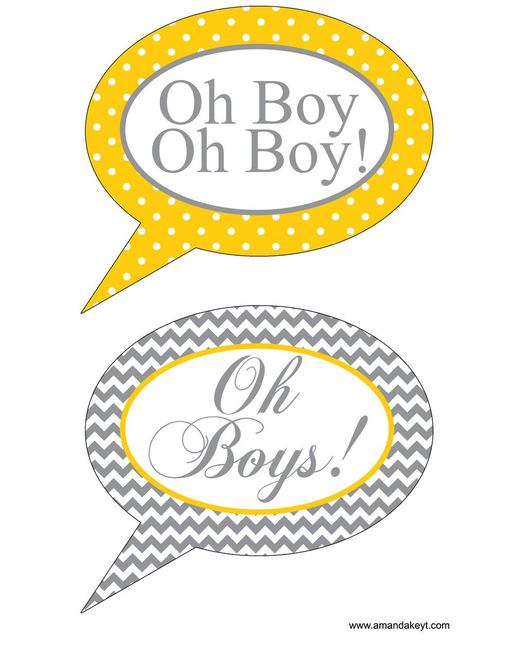 Speech Bubbles from Baby Twins Yellow Grey Oh Boy Printable Photo Booth Prop Set