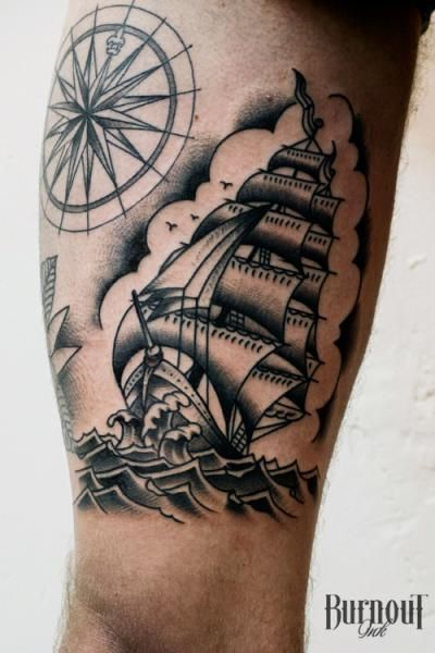 tattoo von burnout ink tattoos pinterest traditional ship tattoo tattoo and tatting. Black Bedroom Furniture Sets. Home Design Ideas