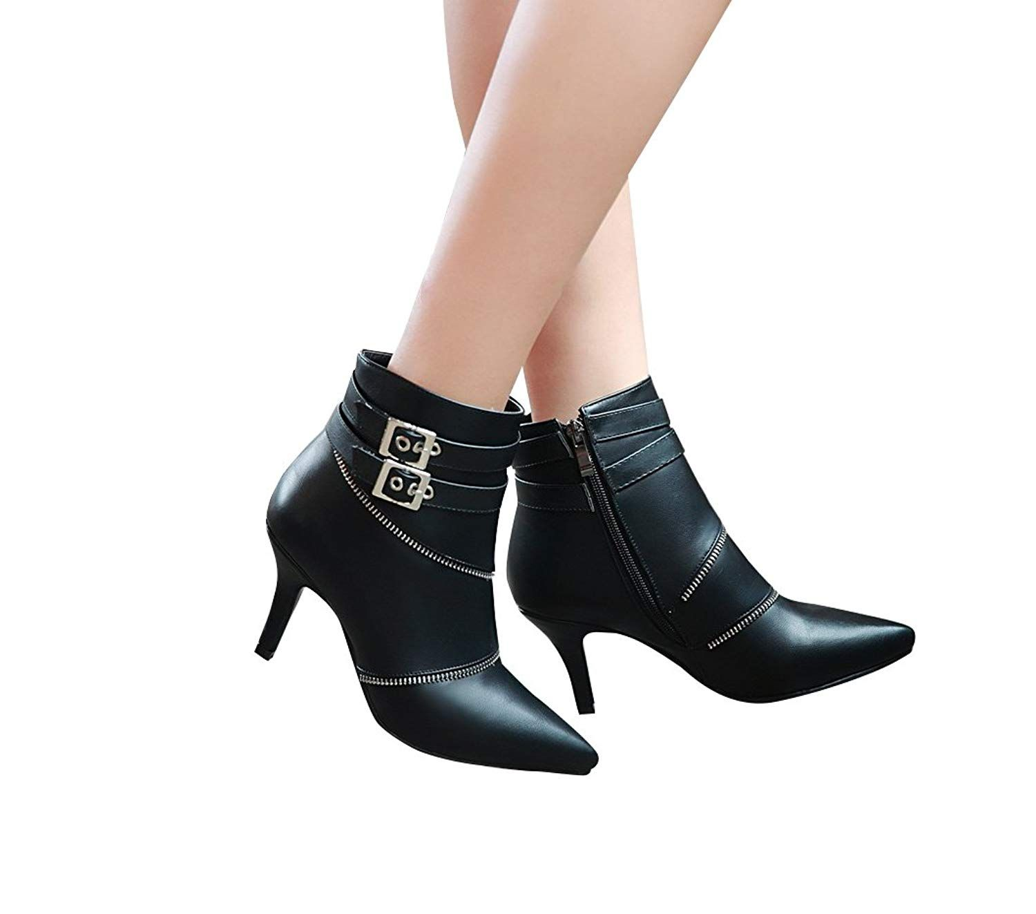 b1bb72be1d3 NIUERTE Women s Kitten Heel Pointed Toe Zipper Decoration Ankel Straps and  Buckle Booties     Check this awesome product by going to the link at the  image.