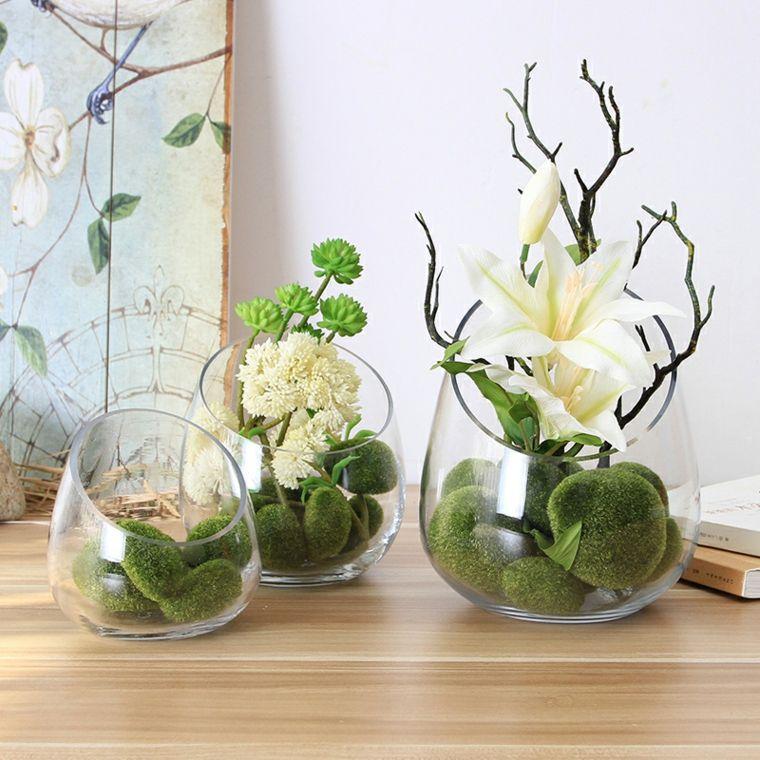 Decoracion con flores y jarrones en el interior para la - Decoracion de jarrones con flores artificiales ...