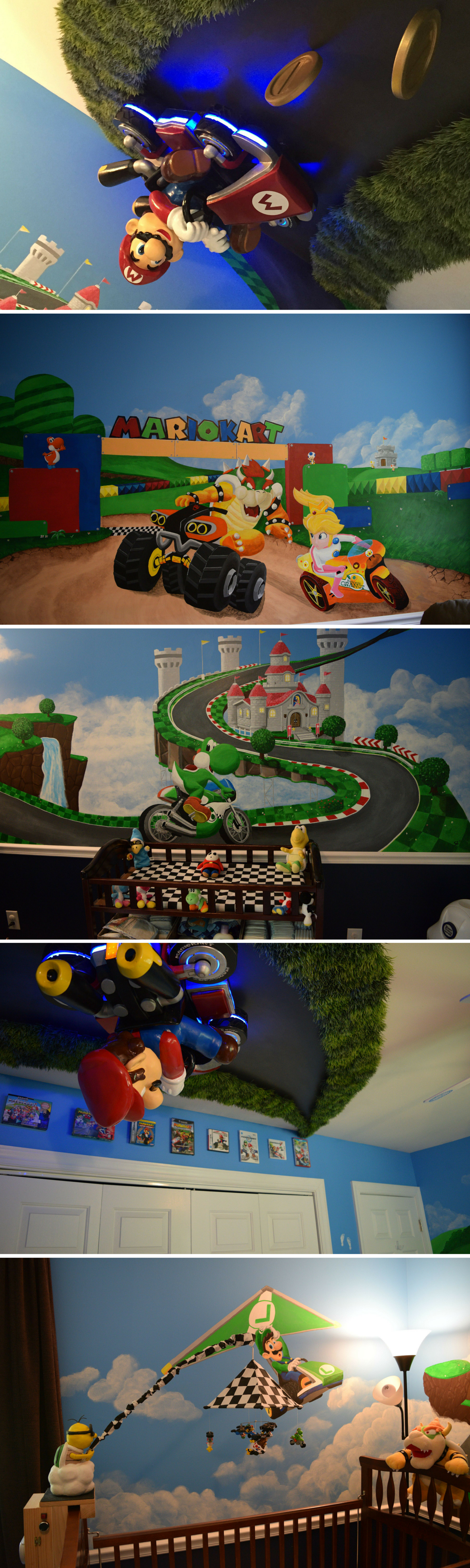 Awesome DIY Mario Kart nursery includes Mario driving on the ceiling