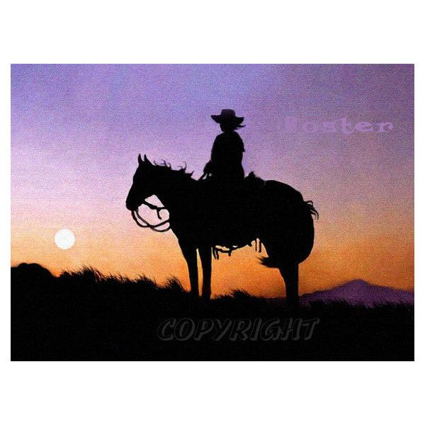 western art, cowboy art, Lady Rider, painting, print, sunset,... (23 CAD) ❤ liked on Polyvore featuring home, home decor, wall art, western home decor, door signs, western wall art, horse paintings and sunrise painting