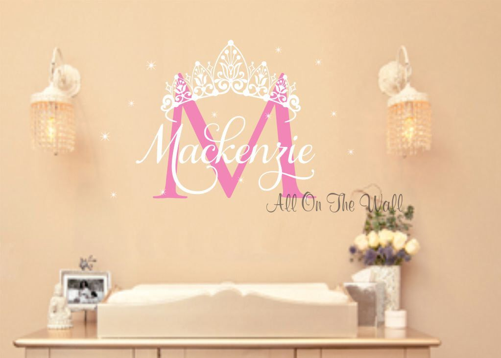 Princess Wall Decal Crown Vinyl Stickers Baby Girl Name Decals For - Personalized custom vinyl wall decals for nurserypersonalized vinyl etsy
