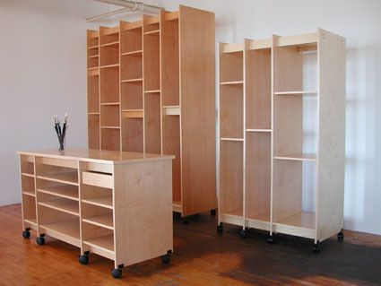 Art Storage work table and tall art storage furniture for storing fine art and art supplies.