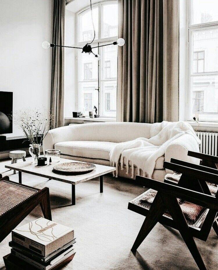 Wohnzimmer-Einrichtung (Interior Design) in den neutralen Farben - wohnzimmer design schwarz