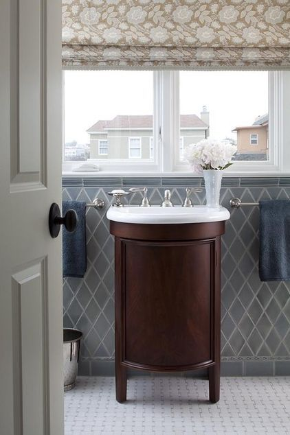 Diamond-shaped tiles are pretty cool traditional bathroom by Lindy