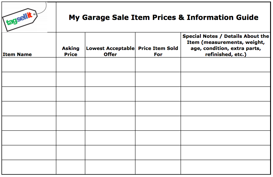 This is a photo of Superb Free Garage Sale Printables