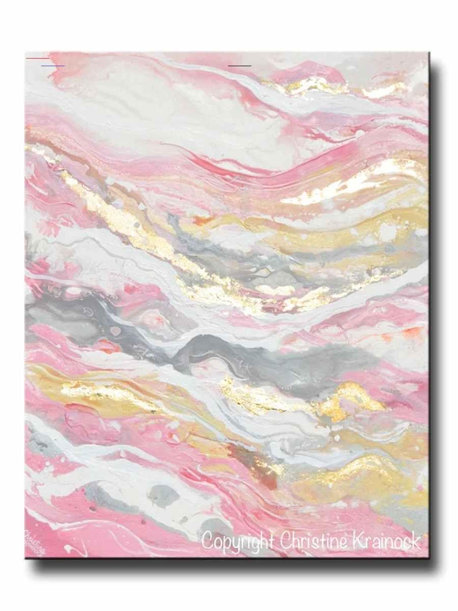 Original Art Abstract Painting Pink White Grey Beige Gold Leaf Marbled Coastal Wall Art 30x24 Marblepainting Rose Gold Original Fine Art Neut In 2020 Diys Ideeen