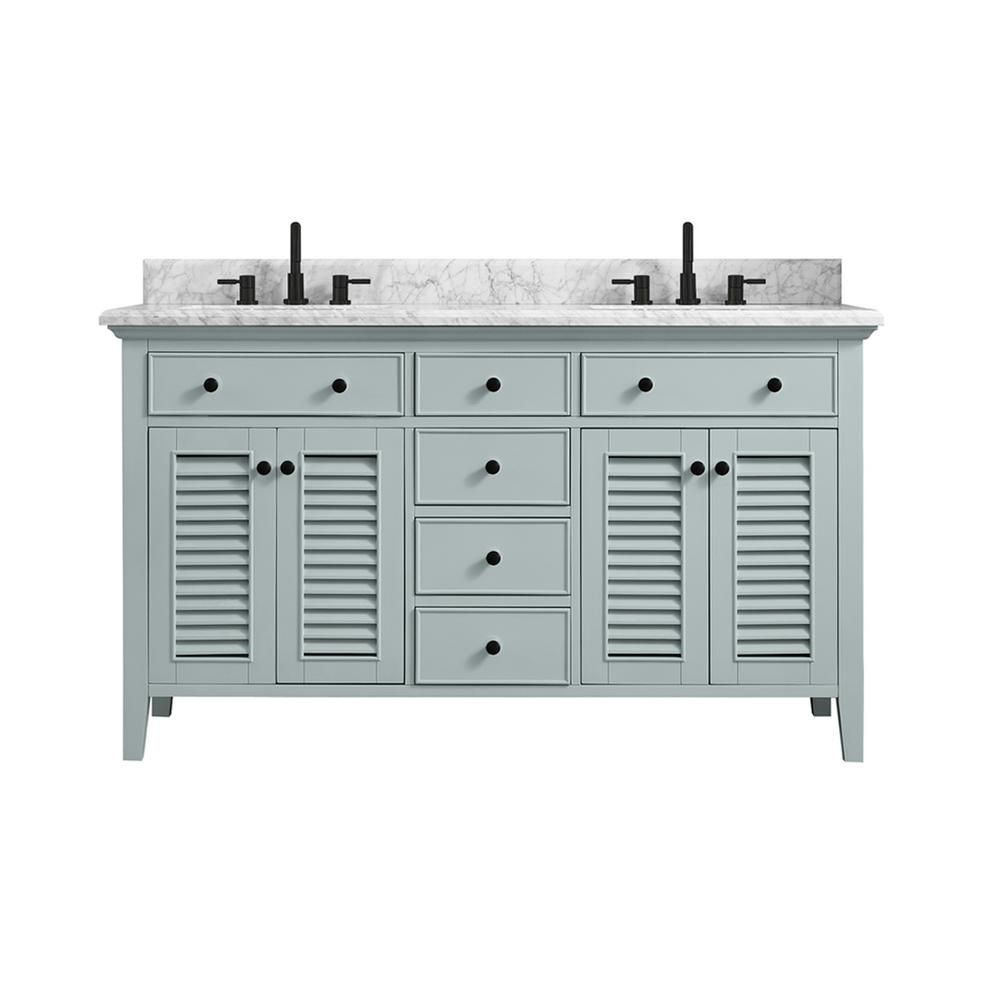 Home Decorators Collection Fallworth 61 In W X 22 In D Bath Vanity In Light Green With Marble Vanity Top In Carrara White With White Basin 19115 Vs61 Lg The In 2021 Marble