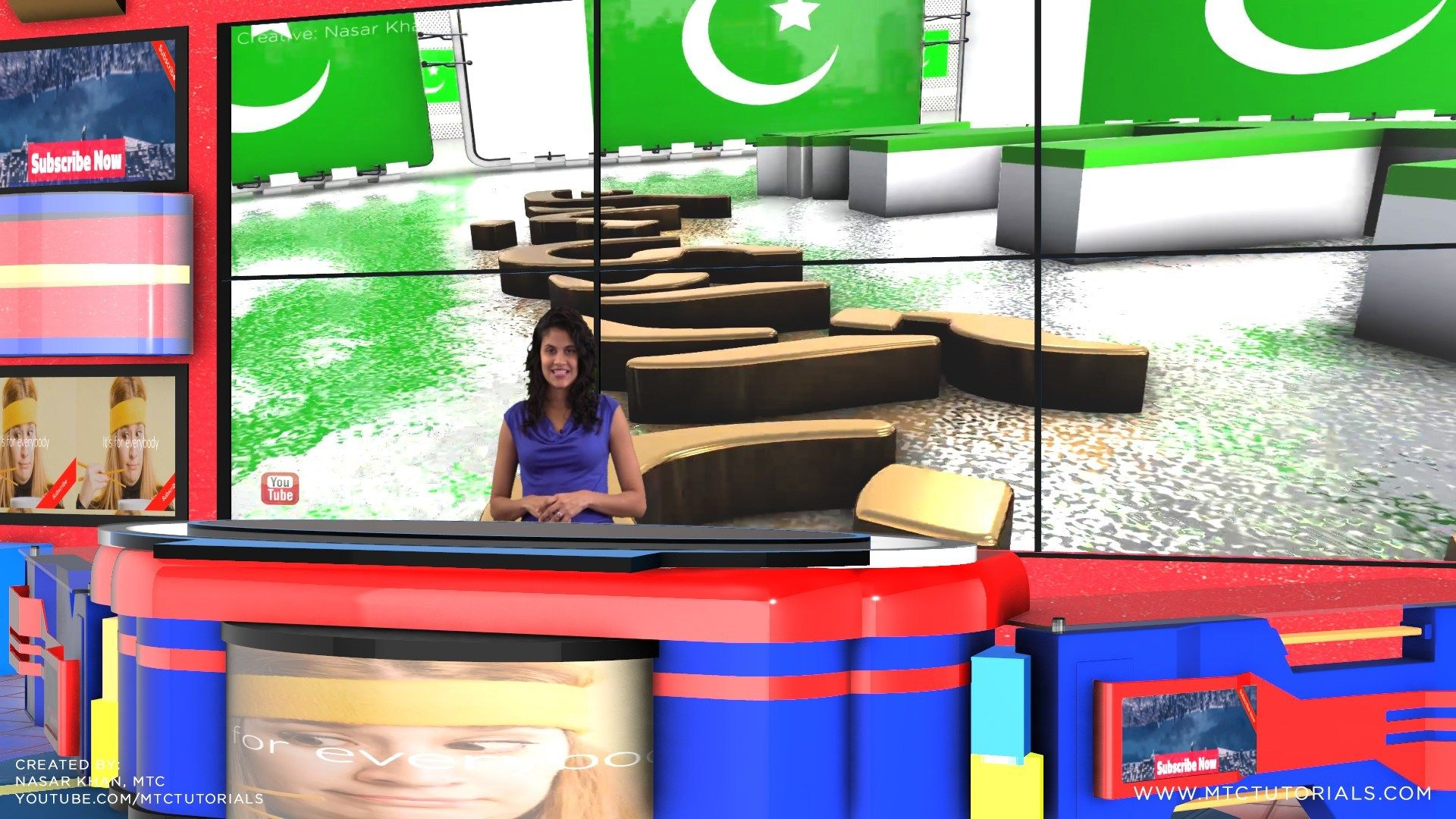 Download Free Green Screen Virtual Studio News Desk (With
