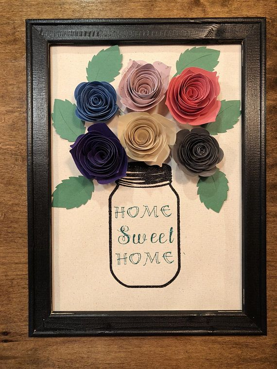 Reverse Canvas Mason Jar W Paper Flowers With Images