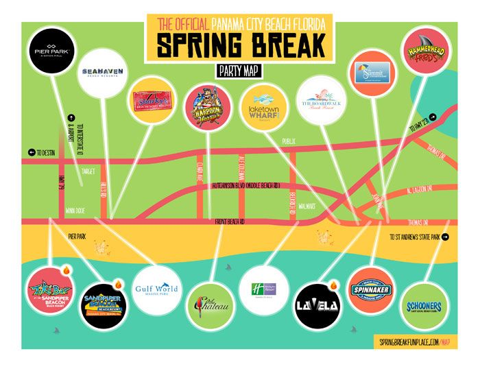 Panama City Beach Map Of Florida.The Official Panama City Beach Spring Break Party Map Get It Free
