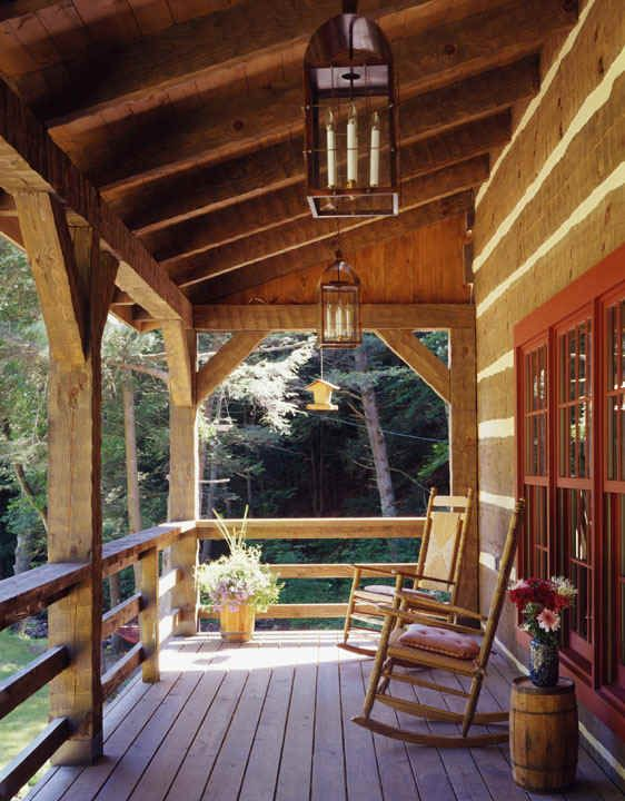 Knisley home porch log home pinterest porch front for Log cabin porches and decks