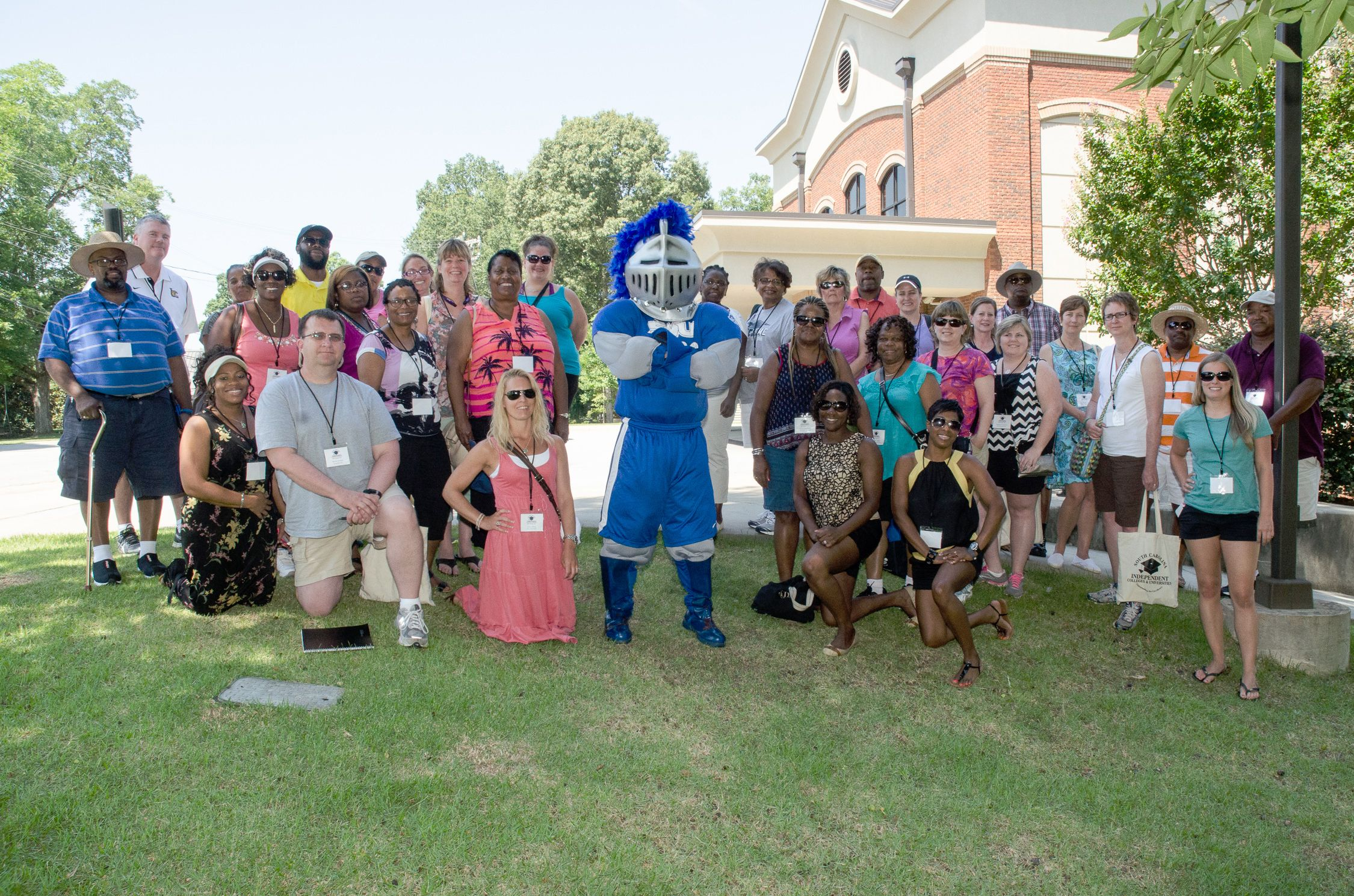 Guidance counselors from across the state pose with the Warrior Mascot as they arrive at SWU's Central campus. They were participants in the S.C. Guidance Counselor Bus Tour June 18. While at SWU, the counselors toured the campus and met with President Todd Voss, along with faculty, staff and students. The stop was topped off by a delicious lunch at the Dining Commons.