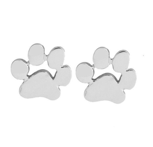 63b0eab66 Paw Print Earrings Silver Studs New Animal Jewelry Dog Cat Earrings   eBay