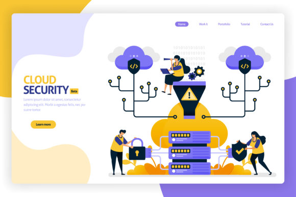 Cloud Security Landing Page Design Graphic By Setiawanarief111 Creative Fabrica In 2020 Landing Page Design Page Design Landing Page