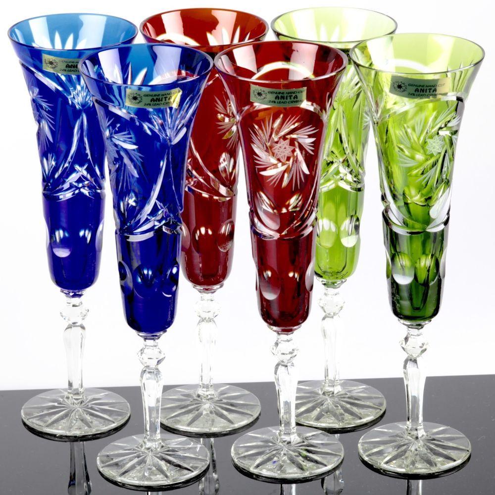 6 Bunte Sektglaser Champagnerglaser Bleikristall Anita 24 Lead Crystal Kristallglas Sektschalen Geschliffener Kristall