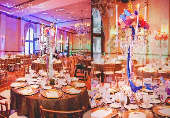 Butterfly themed centerpiece. (Flowers by Lee Forrest Design, photo by: Claire Pacelli Photography)