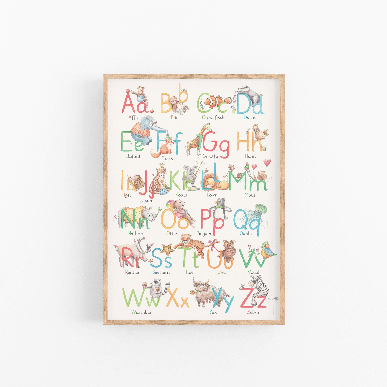 Poster Alphabet ABC Alphabet Plakat für Kinderzimmer