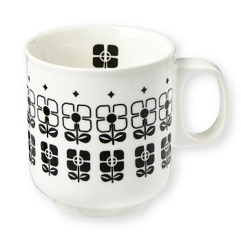 Atomic Soda Geometric Flower Tall Mug: Mug in fine bone china with hand applied black geometric flower pattern.