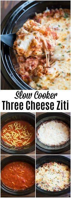 Slow Cooker Three Cheese Ziti | BEST #easycrockpotchicken