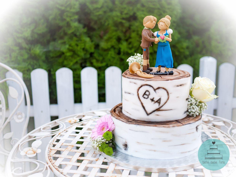Hochzeitstorte Motivtorte Zur Hochzeit Brautpaar Holz Blumen